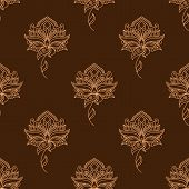 Delicate paisley flowers persian seamless pattern