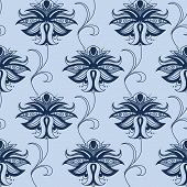Indian blue lace flowers seamless pattern