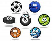 Cartoon sporting balls and puck characters