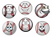 foto of cartoon character  - Funny baseball balls cartoon characters with red stitching and smiling faces for sporting mascot design - JPG