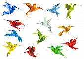 pic of colibri  - Origami paper hummingbirds design elements with flying colorful abstract colibry for logo or emblem - JPG