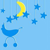 foto of kiddie  - Baby boy announcement card with blue colored pram and several blue stylized stars and one yellow moon hanging over it - JPG