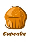 Traditional brown cupcake isolated on white