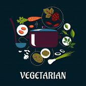 Cooking vegetarian dish flat infographic