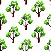 foto of leafy  - Forest seamless pattern showing repeating motif of trees with green leafy branches on white background for wallpaper or fabric design - JPG