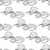 Vintage doodle cartoon clouds seamless pattern