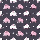 picture of tramp  - Seamless pattern with pink elephants vector background - JPG