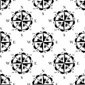 Retro nautical compasses seamless pattern background