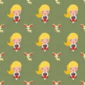 picture of rabies  - Seamless pattern with girl and dog vector background - JPG