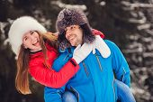 Winter Fun Couple Playful Together