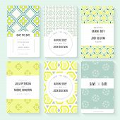 stock photo of romantic  - Stylish save the date or wedding invitation card collection - JPG