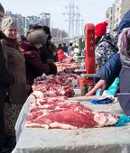 Russian Consumers Buying Meat