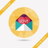 Valentine's Day Love Letter Flat Icon With Long Shadow,eps10