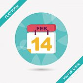 Flat, Icon, Illustration, Shadow, Vector, February, Valentine, Red, Love, Day, 14, Calendar, Holiday
