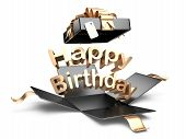 Open Gift Box With Gold Bow And Ribbon. Happy Birthday Message.