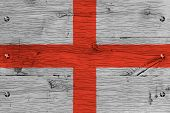 England Flag Painted Old Oak Wood Fastened