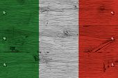 Italy National Flag Painted Old Oak Wood Fastened