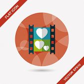 Wedding Film Flat Icon With Long Shadow,eps10