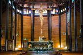 Jesus on cross in the wooden church