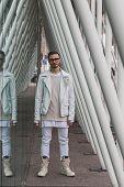 Man Outside Jil Sander Fashion Show Building For Milan Women's Fashion Week 2015