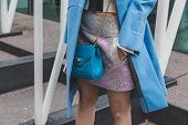 Detail Of Bag Outside Jil Sander Fashion Show Building For Milan Women's Fashion Week 2015