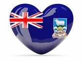 image of falklands  - Heart shaped icon with flag of falkland islands isolated on white - JPG