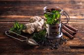 image of mints  - Cup of herbal tea with fresh mint on wooden table  - JPG