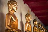 Picture Of Buddha Statue At Wat Pho Temple. Bangkok, Thailand.