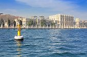 Float And Dolmabahce Palace Near Bosphorus In Istanbul, Turkey
