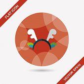 Reindeer Headband Flat Icon With Long Shadow,eps10