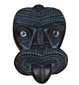 Maori madeira esculpida a máscara de Tiki