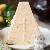 picture of curd  - Caramel Curd Paskha Traditional Russian Orthodox Easter Dessert Rustic Style copy space for your text square - JPG