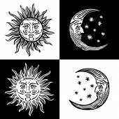 Illustration Sun Moon Star Human Faces Retro Vintage Vector Folklore