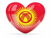 Heart Shaped Icon With Flag Of Kyrgyzstan