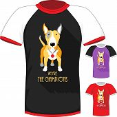 Vector T-shirt with Bull Terrier dog champion