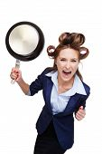 Business woman with curler screaming and holding pan