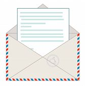 Envelope with a letter, vector illustration