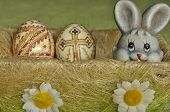 Easter. Symbols Of Christmas. Rabbit, Chicken And Eggs. Willow Twig.