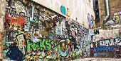 Street art on textured wall