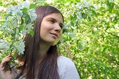 Young Woman Near Apple Tree