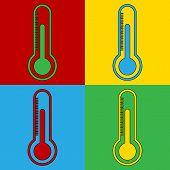 Pop Art Thermometer Simbol Icons.