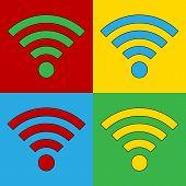 Pop Art Wi Fi Simbol Icons.
