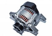 image of dynamo  - New car alternator on a white background - JPG