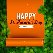 foto of saint patrick  - Saint Patricks Day card ribbon on realistic shamrock leaves - JPG