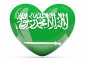 Heart Shaped Icon With Flag Of Saudi Arabia