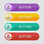 Vector flat buttons with bulding icon