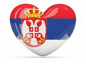 Heart Shaped Icon With Flag Of Serbia