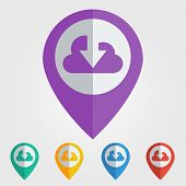 Vector flat pin with cloud download icon