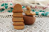 Lestvitsa And Zhavoronok, Russian Rye Festive Spring Cookies On Handmade Rushnik