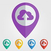 Vector flat pin with cloud upload icon